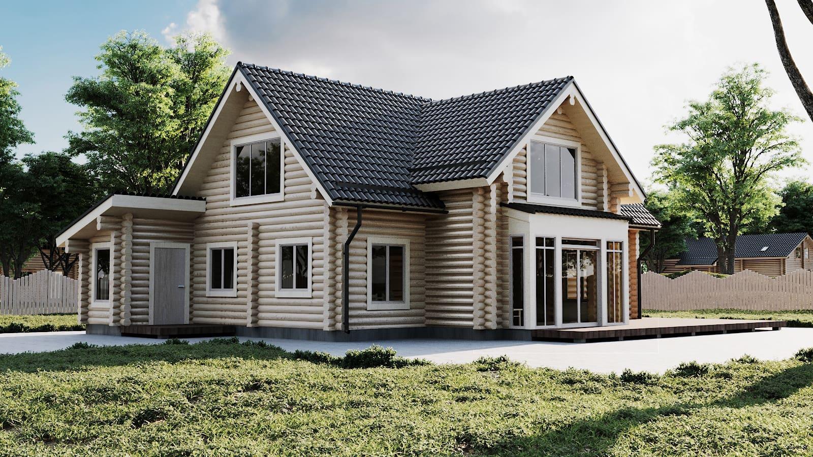 Maison en rondins et madriers - 199m² - 3 chambres - terrasse - DALHIA