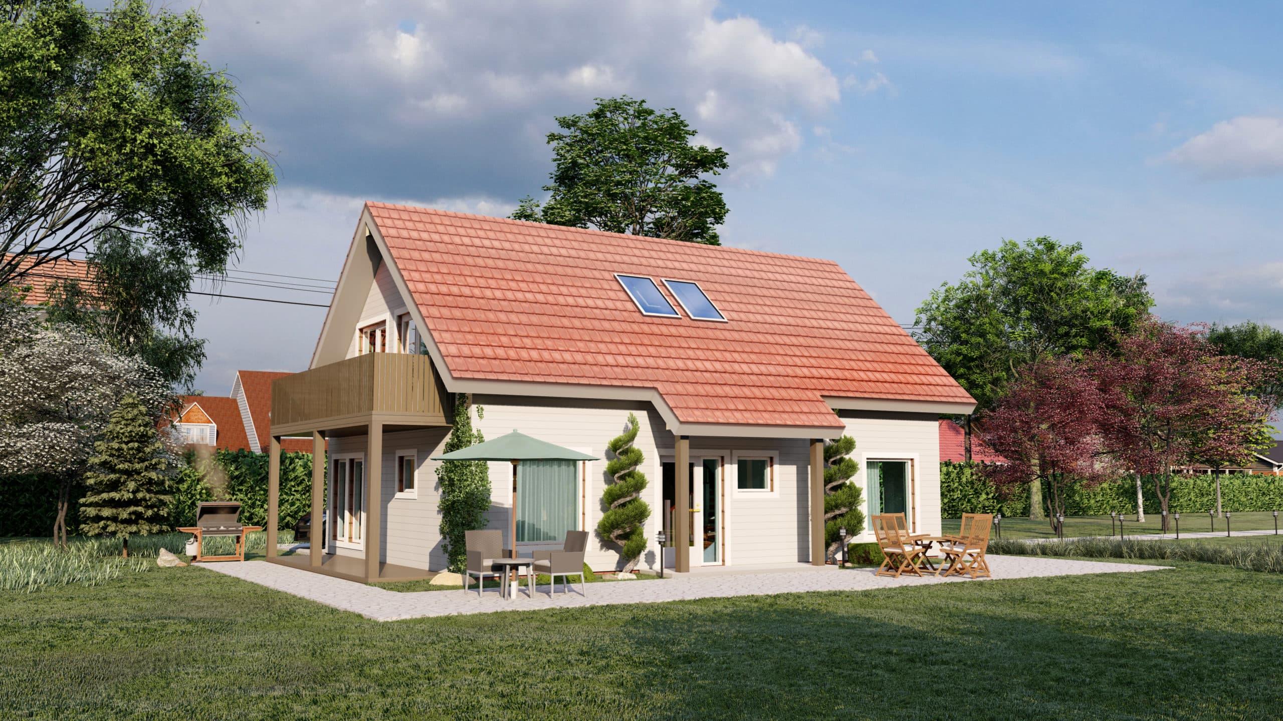 Maison en bois préfabriquée - 135m² - 5 chambres - balcon et terrasse - SAPIN