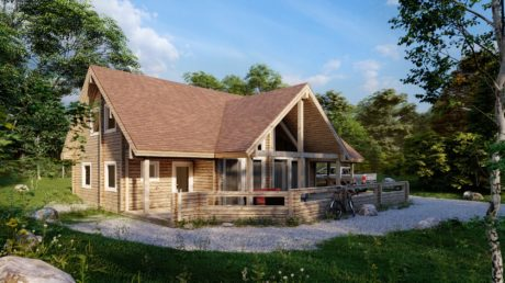 Maison en rondins et madriers - 201m² - 4 chambres - terrasse - AGATE