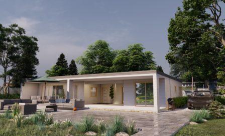 Maison en bois préfabriquée - 179m² - 3 chambres - terrasse - plain pied - ÉRABLE