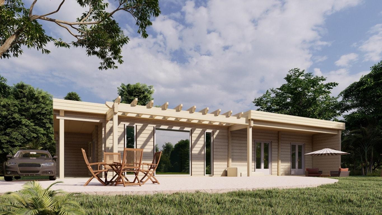 Maison en rondins et madriers - 135m² - 3 chambres - terrasse - plain pied - MÉSANGE