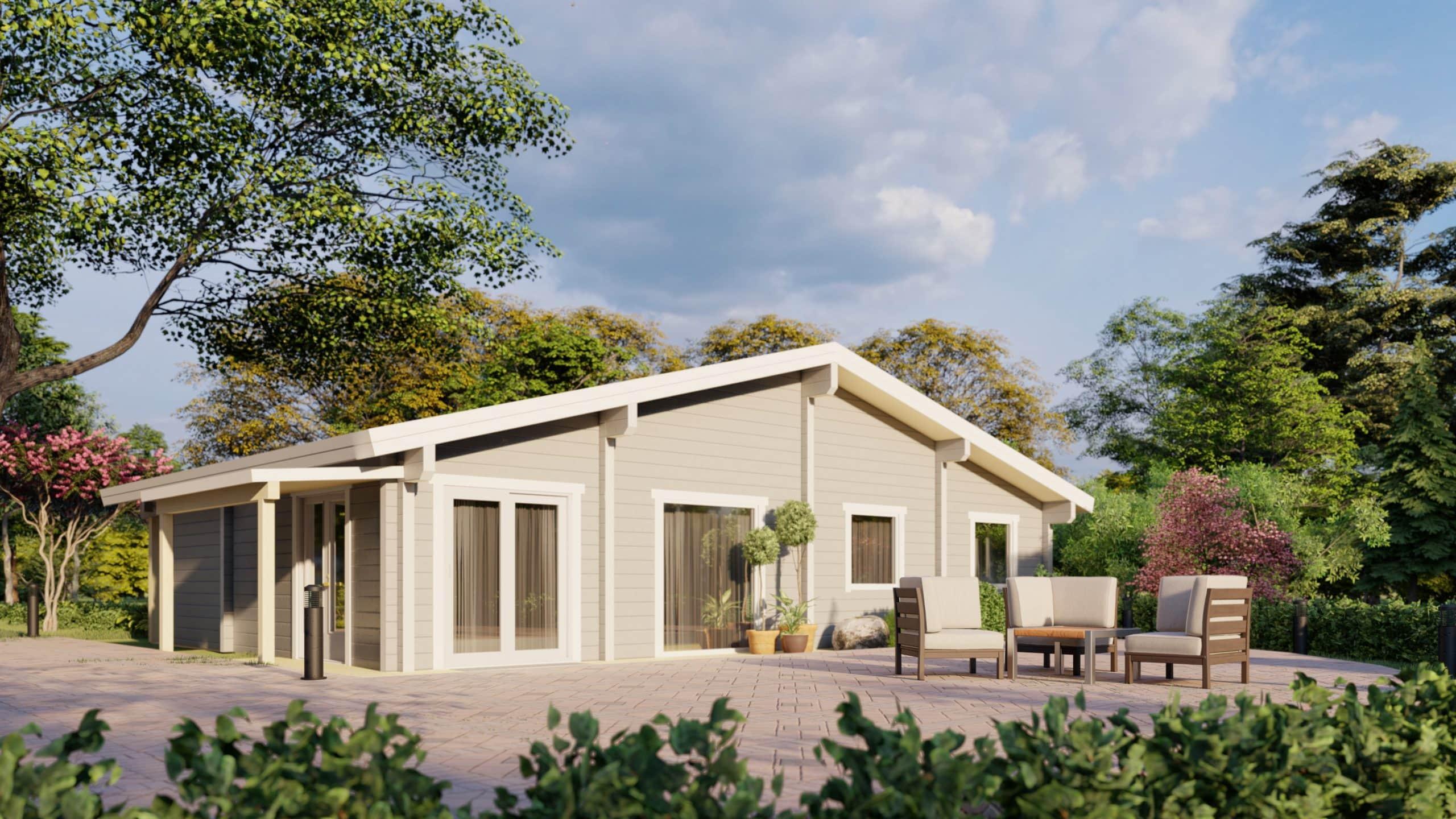 Maison en rondins et madriers - 120m² - 3 chambres - terrasse - plain pied - CÈDRE