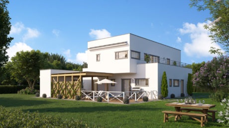 Maison préfabriquée ossature bois - 315m² - 3 chambres - balcons et terrasse - NACRE